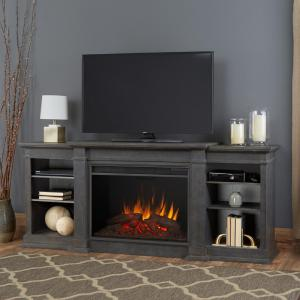Real Flame Eliot Grand 81 inch Entertainment Center Electric Fireplace in Antique Gray by Real Flame