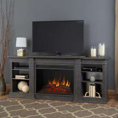 Eliot Grand 81 in. Electric Fireplace TV Stand Entertainment Center in Antique Gray