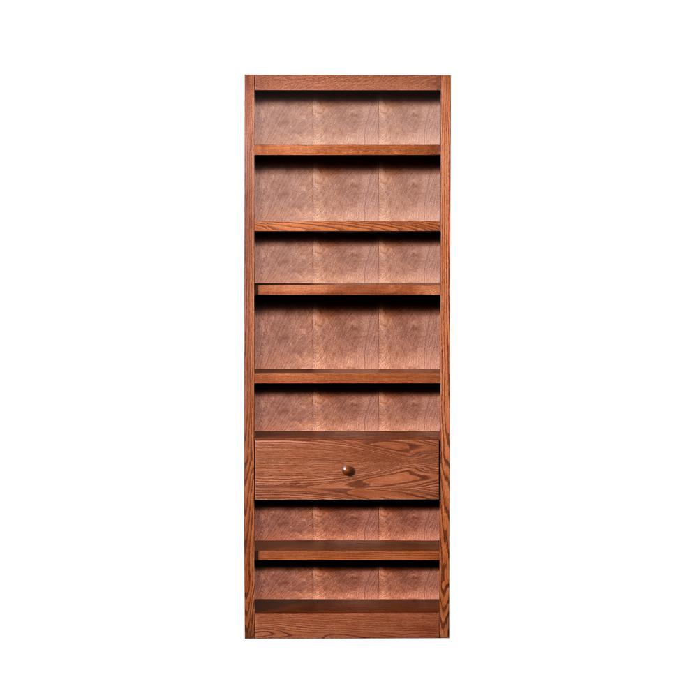 84 in. Dry Oak Wood 7-shelf Standard Bookcase with Adjustable Shelves