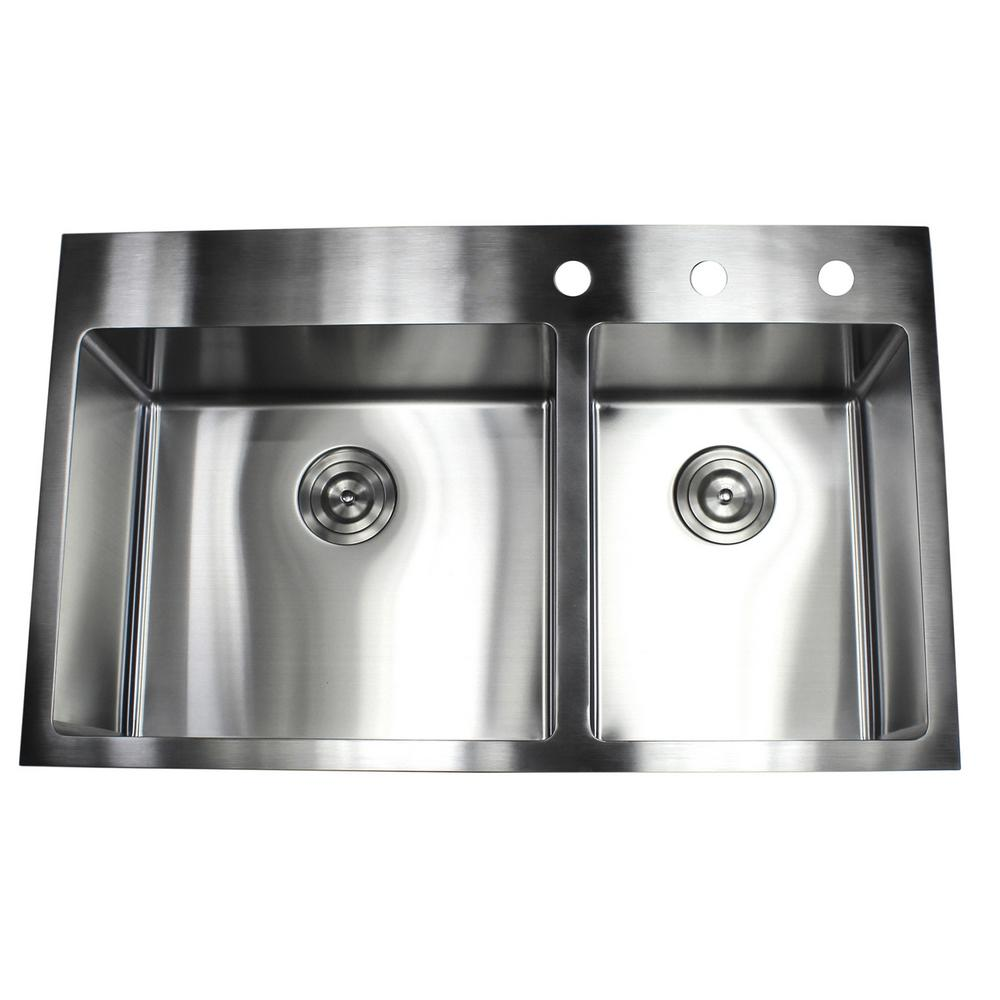 Kitchen Sink Offset From Window: Drop-in Top Mount 16-Gauge Stainless Steel 36 In. X 22 In