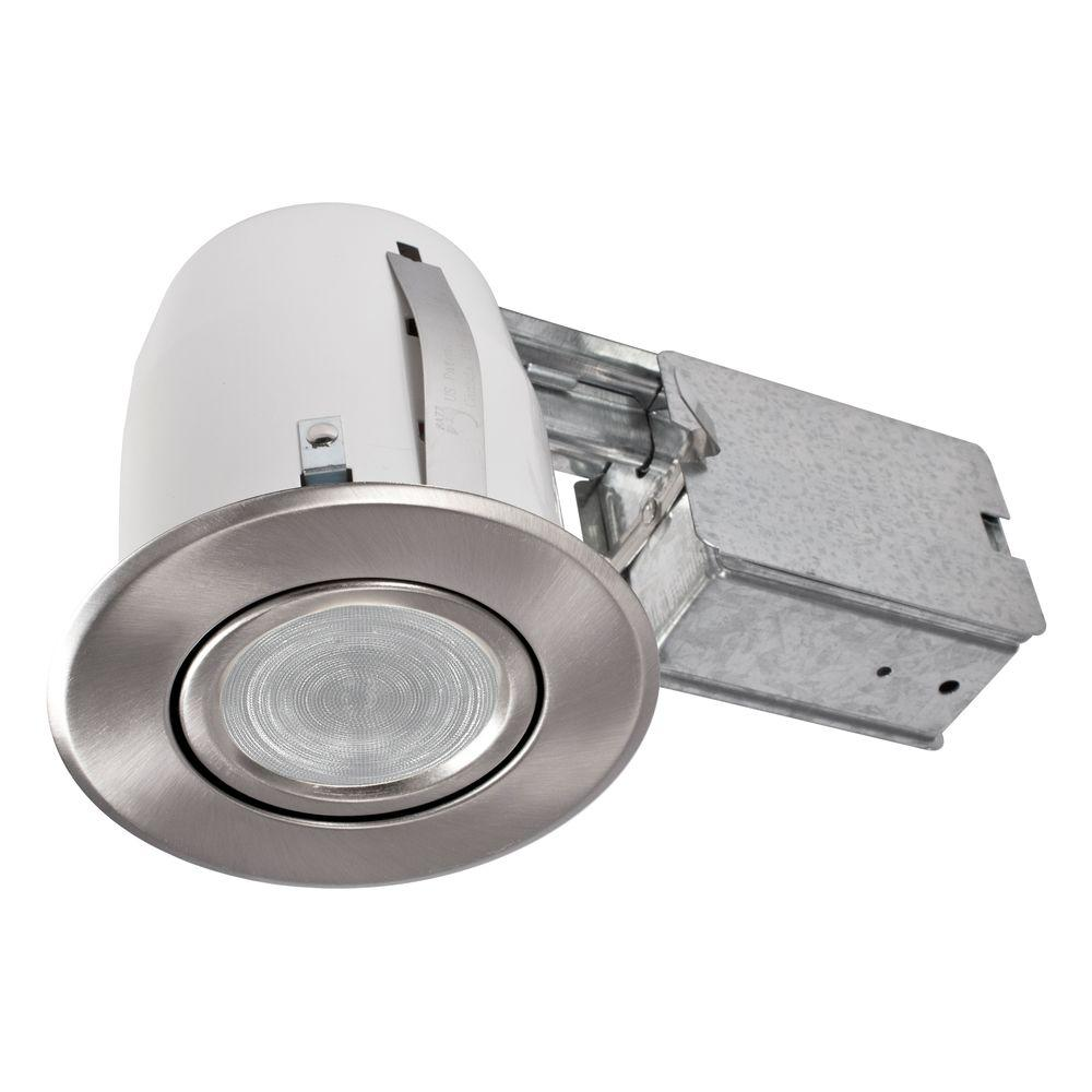 Slim Brushed Chrome Multi Directional Recessed Lighting Fixture Designed  For Ceiling Clearance