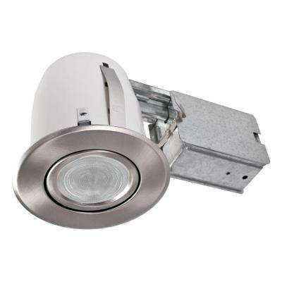 3.88 in. Slim Brushed Chrome Multi Directional Recessed Lighting Fixture Designed for Ceiling Clearance