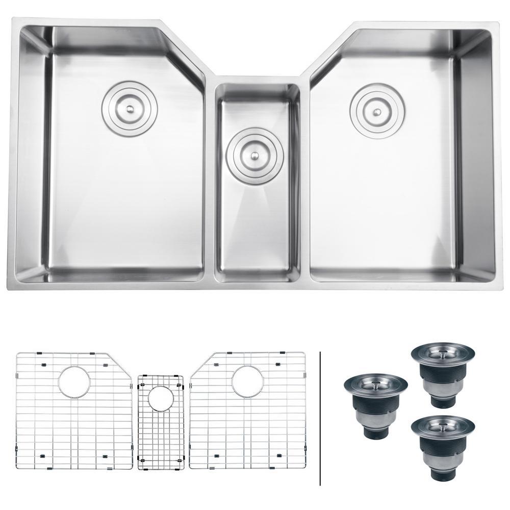 Ruvati Undermount Stainless Steel 35 In 16 Gauge Triple Bowl Kitchen Sink Rvh8500 The Home Depot
