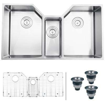 Undermount Stainless Steel 35 in. 16-Gauge Triple Bowl Kitchen Sink