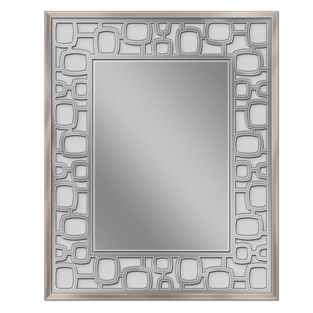 25 in. W x 31 H Etched Oblong Circle Wall Mirror