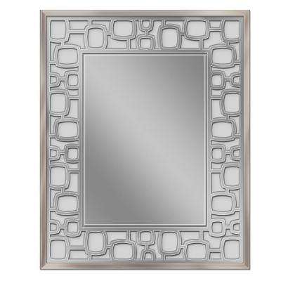 25 in. W x 31 H Etched Oblong Circle Wall Mirror in Brush Nickel