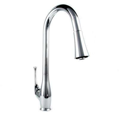 Castor Single-Handle Pull-Down Sprayer Kitchen Faucet in Chrome Finish