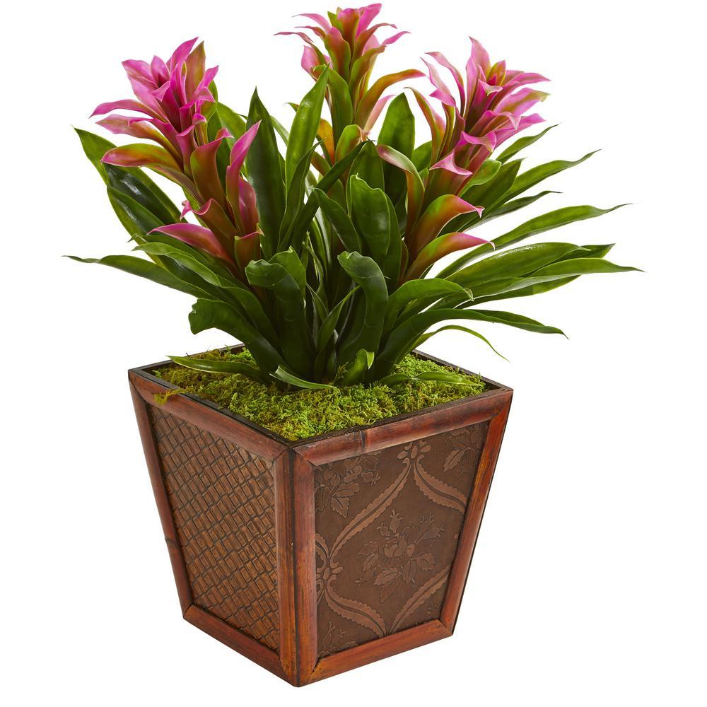 Triple Purple Bromeliad Artificial Plant in Decorative Planter