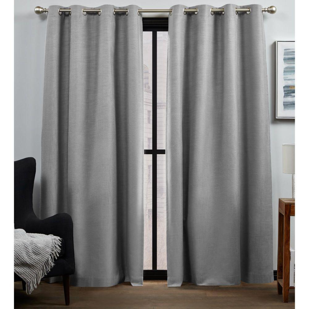Bensen Grey Blackout Grommet Top Curtain Panel 52 in. W x 96 in. L (2 Panels)