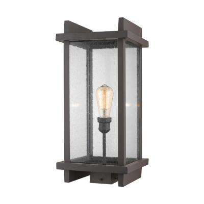 Forge 1-Light Outdoor Deep Bronze Post Light with Clear Seedy Glass