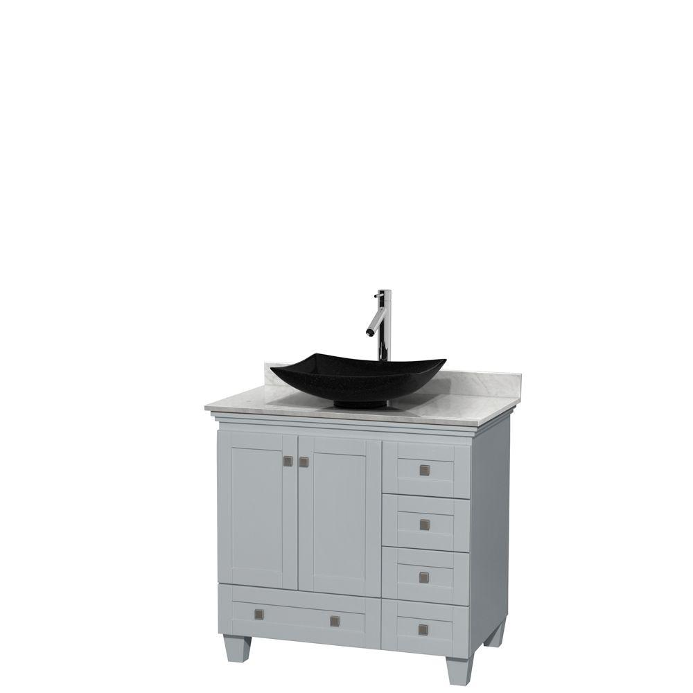 Wyndham Collection Acclaim 36 in. W x 22 in. D Vanity in Oyster Gray with Marble Vanity Top in Carrera White with Black Basin