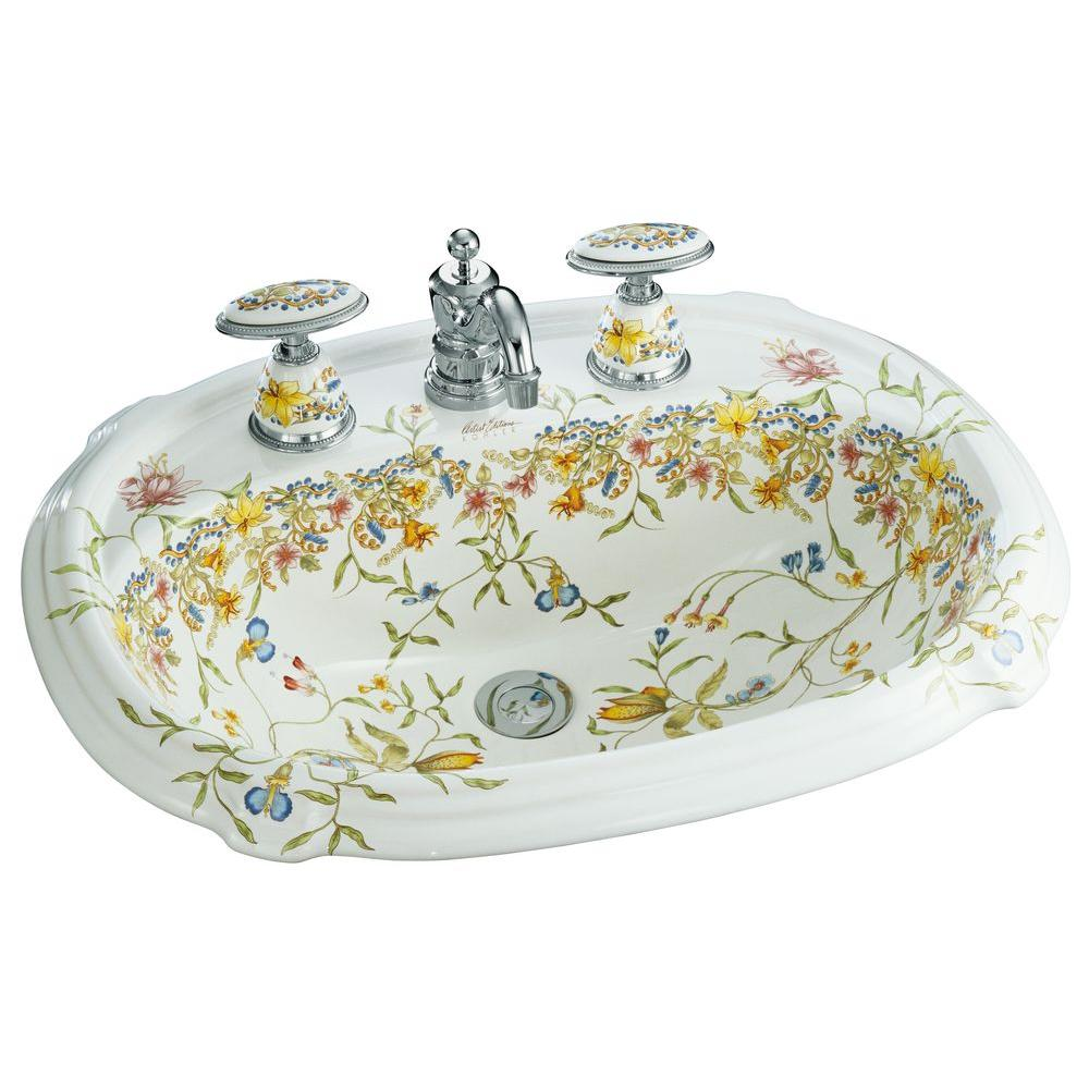 KOHLER Portrait Drop In Vitreous China Bathroom Sink With English Trellis  Design In White With