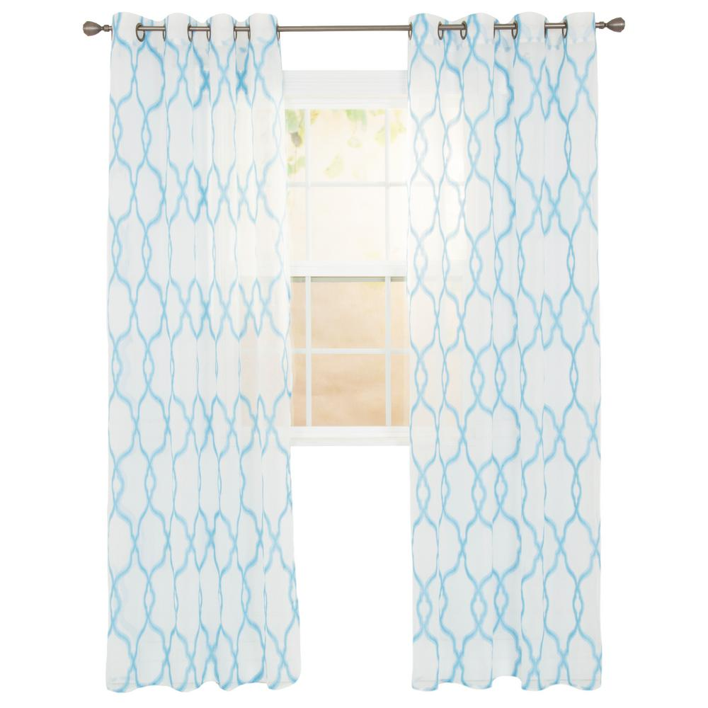 Sheer Elisa Blue Polyester Embroidered Curtain