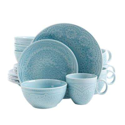 Alemany 16-Piece Aqua Dinnerware Set