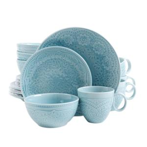 Click here to buy GIBSON elite Alemany 16-Piece Aqua Dinnerware Set by GIBSON elite.
