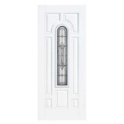 36 in. x 80 in. Providence Center Arch Left Hand Outswing Primed White Smooth Fiberglass Prehung Front Door