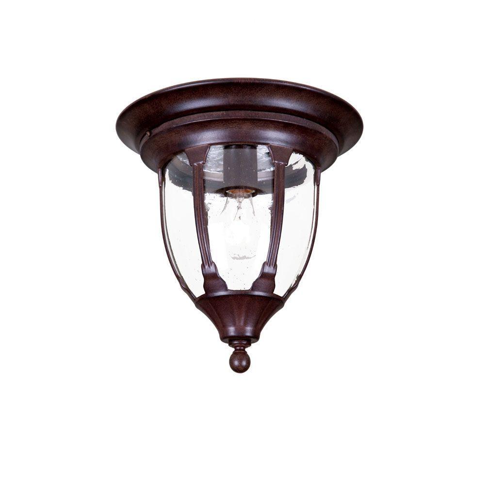 Suffolk Collection Ceiling-Mount 1-Light Burled Walnut Outdoor Light Fixture
