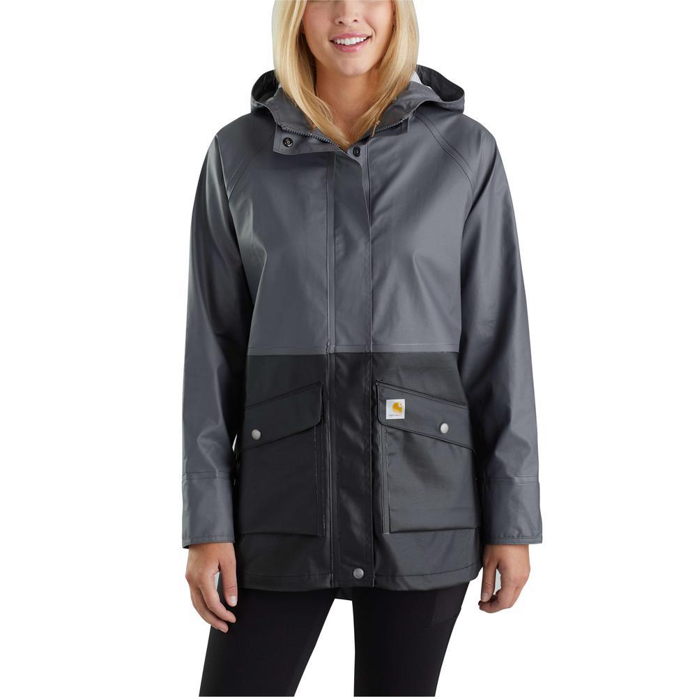 8b50ce18e Carhartt Women's X-Large Black Polyethylene Vinyl/Polyester Waterproof  Rainstorm Coat