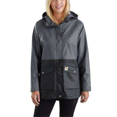 Women's Medium Black Polyethylene Vinyl/Polyester Waterproof Rainstorm Coat