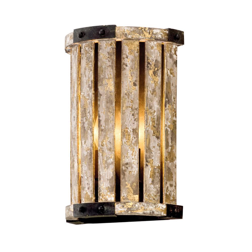 Troy Lighting Stix 2 Light Antique Gold Leaf Wall Mount Sconce B5331