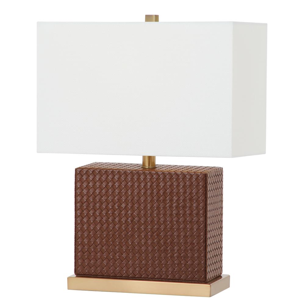 Safavieh Delia 20.5 in. Brown Faux Woven Leather Table Lamp