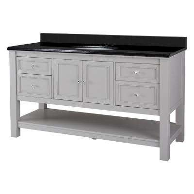 Gazette 61 in. W x 22 in. D Vanity in Grey with Granite Vanity Top in Black with White Sink