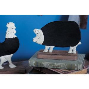 6 inch Pig Chalkboard Decorative Figurine in Distressed White, Natural Brown and Matte Black by