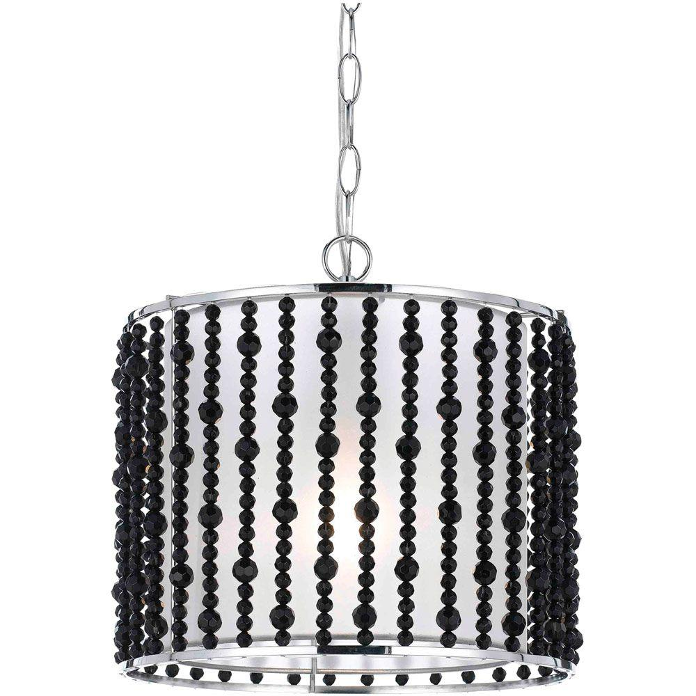 Bijou Collection 1-Light Black Beads Accented Drum Pendant