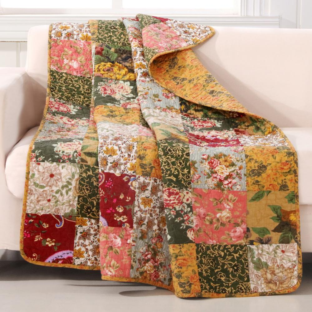 GreenlandHomeFashions Greenland Home Fashions Antique Chic Multicolored Quilted Cotton Throw