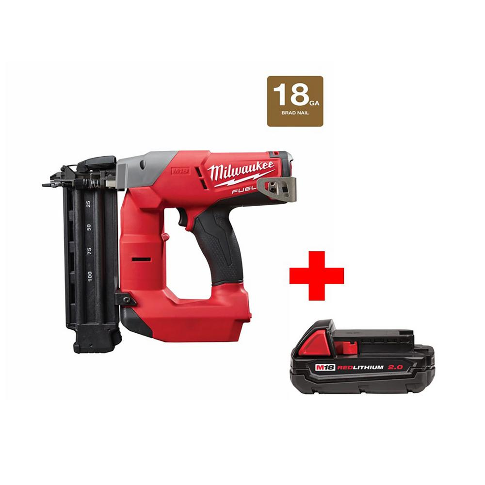 M18 FUEL 18-Volt Lithium-Ion Brushless 18-Gauge Cordless Brad Nailer with One
