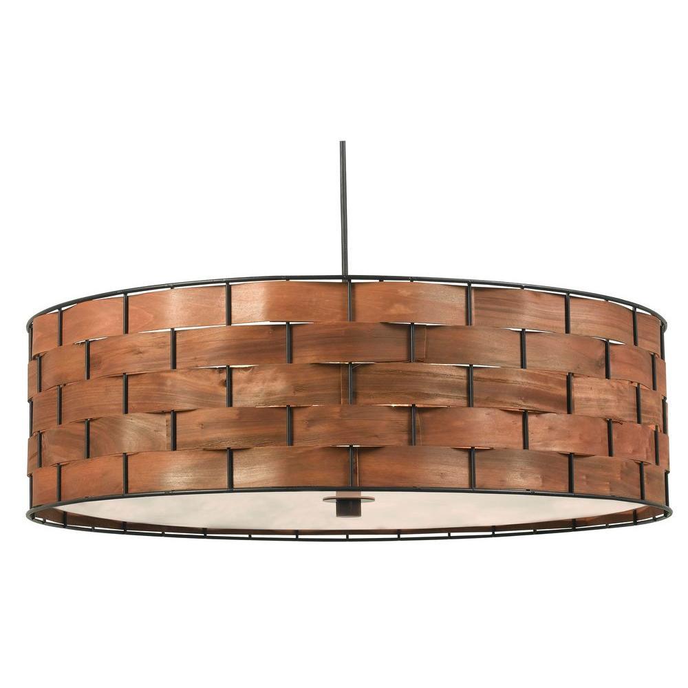 Shaker 3-Light Dark Woven Wood Pendant