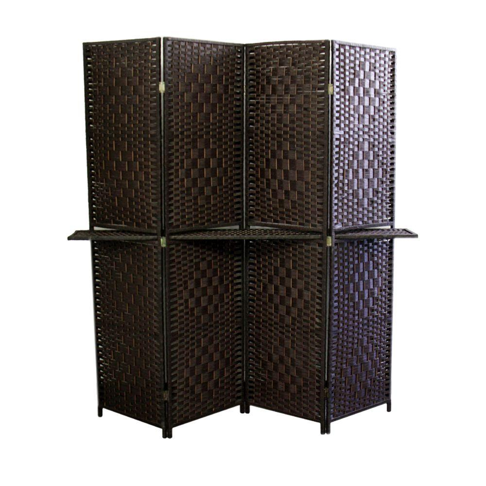 Espresso 4 Panel Room Divider