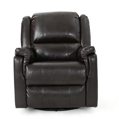 Jenette Brown and Black Tufted Swivel Gliding Recliner