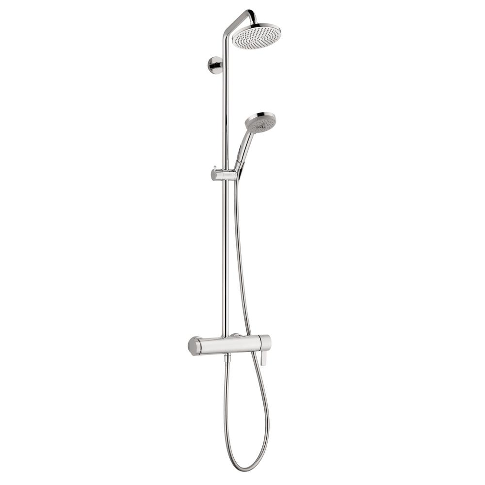 hansgrohe croma 220 shower pipe in chrome 27185001 the home depot. Black Bedroom Furniture Sets. Home Design Ideas