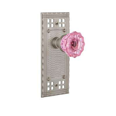 Craftsman Plate 2-3/4 in. Backset Satin Nickel Privacy Crystal Pink Glass Door Knob