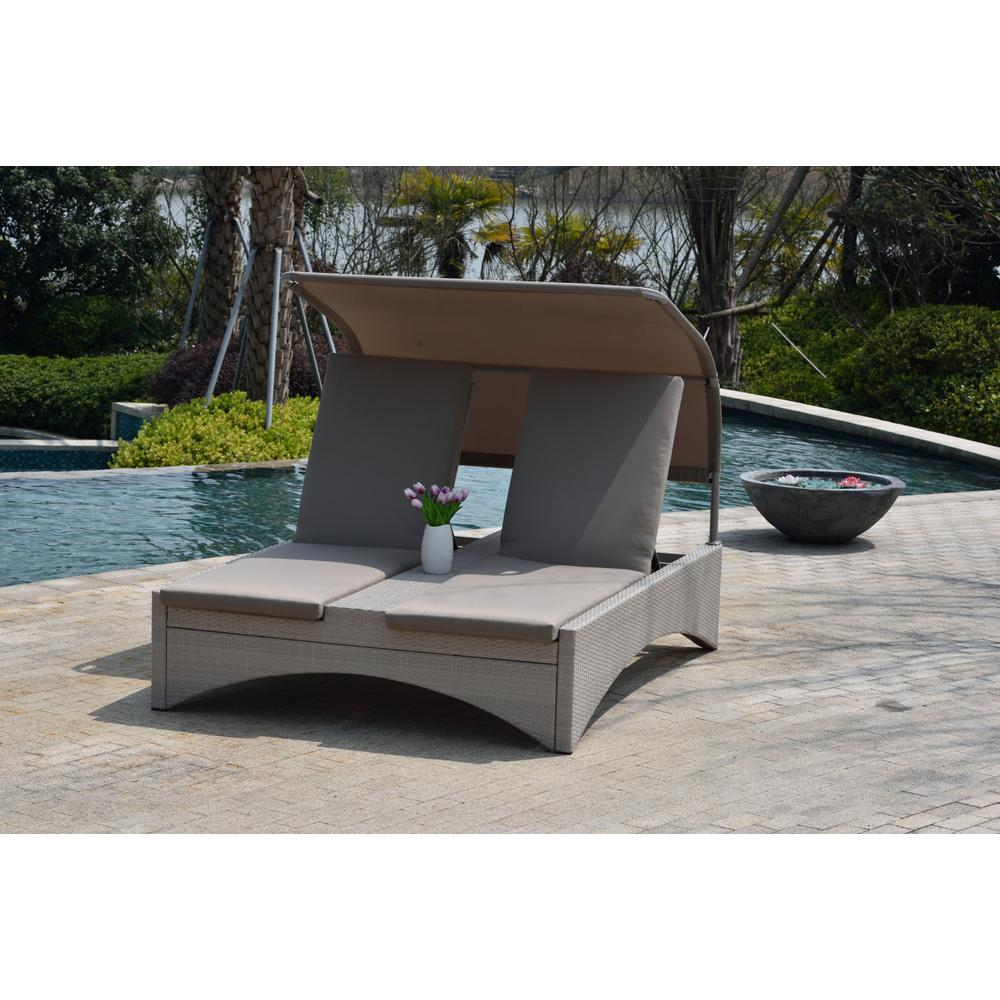 Direct Wicker Columbia Taupe Outdoor Patio Double Chaise Lounge With Shade And Cushions