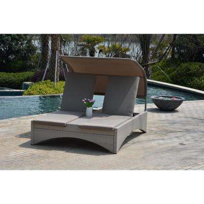 Columbia Taupe Wicker Outdoor Patio Double Chaise Lounge with Shade and Taupe Cushions