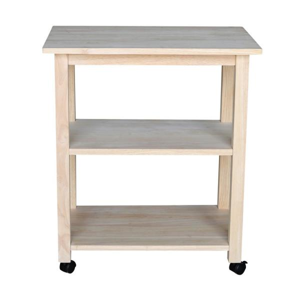 Unfinished Microwave Cart with Shelves