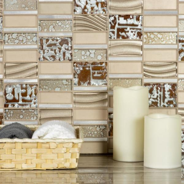ABOLOS Mosaic 12 in. x 12 in. Rectangle Gold Blend Glass