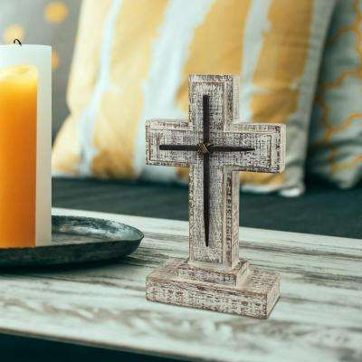 5.5 in. x 9 in. White Wooden Pedestal Cross with Metal Details