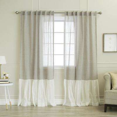 84 in. L Grey Linen Look Rod Pocket White Ruffle Block Curtain (2-Pack)