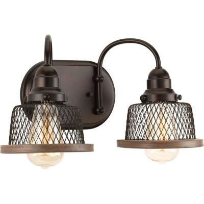 Tilley Collection 2-Light Antique Bronze Bathroom Vanity Light with Mesh Shades