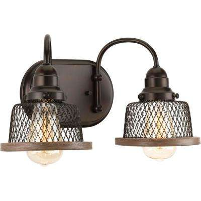 Tilley Collection 2-Light Antique Bronze Vanity Light with Mesh Shades