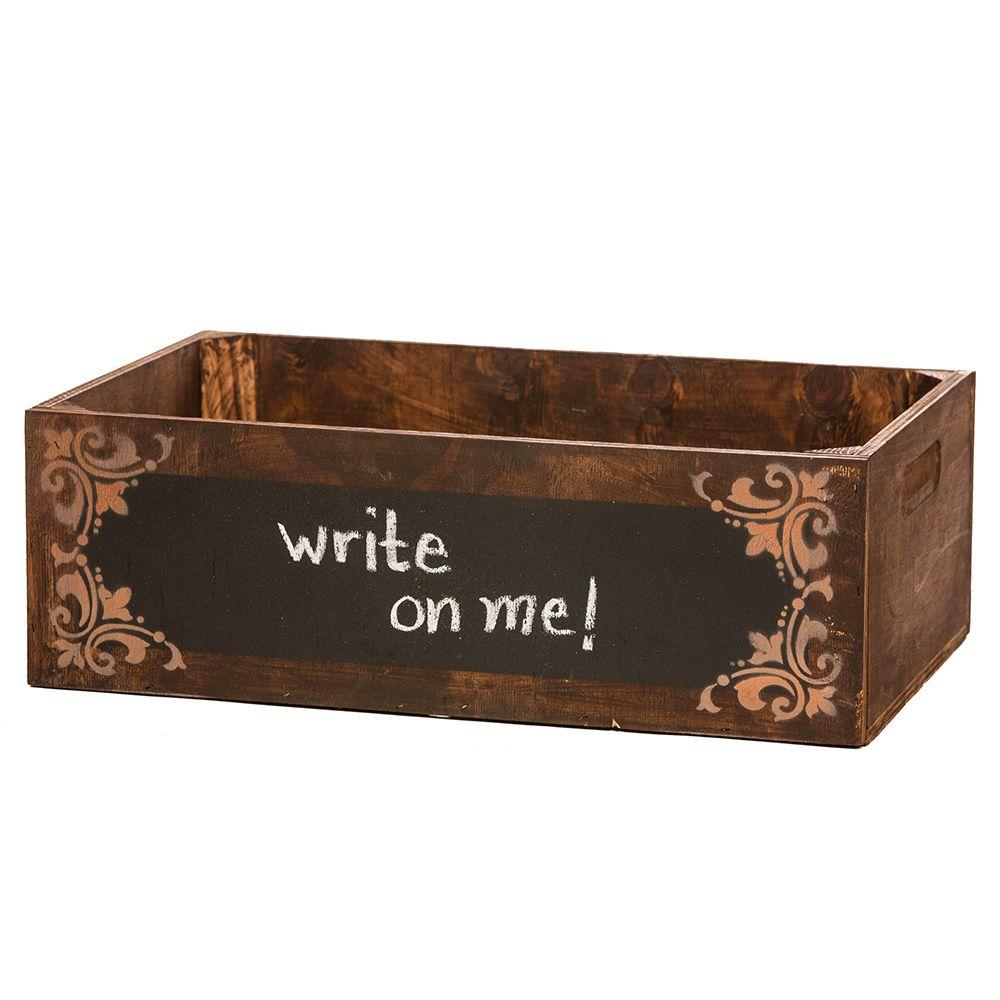 null 24 in. Vintage Wooden Brown Chalkboard Box