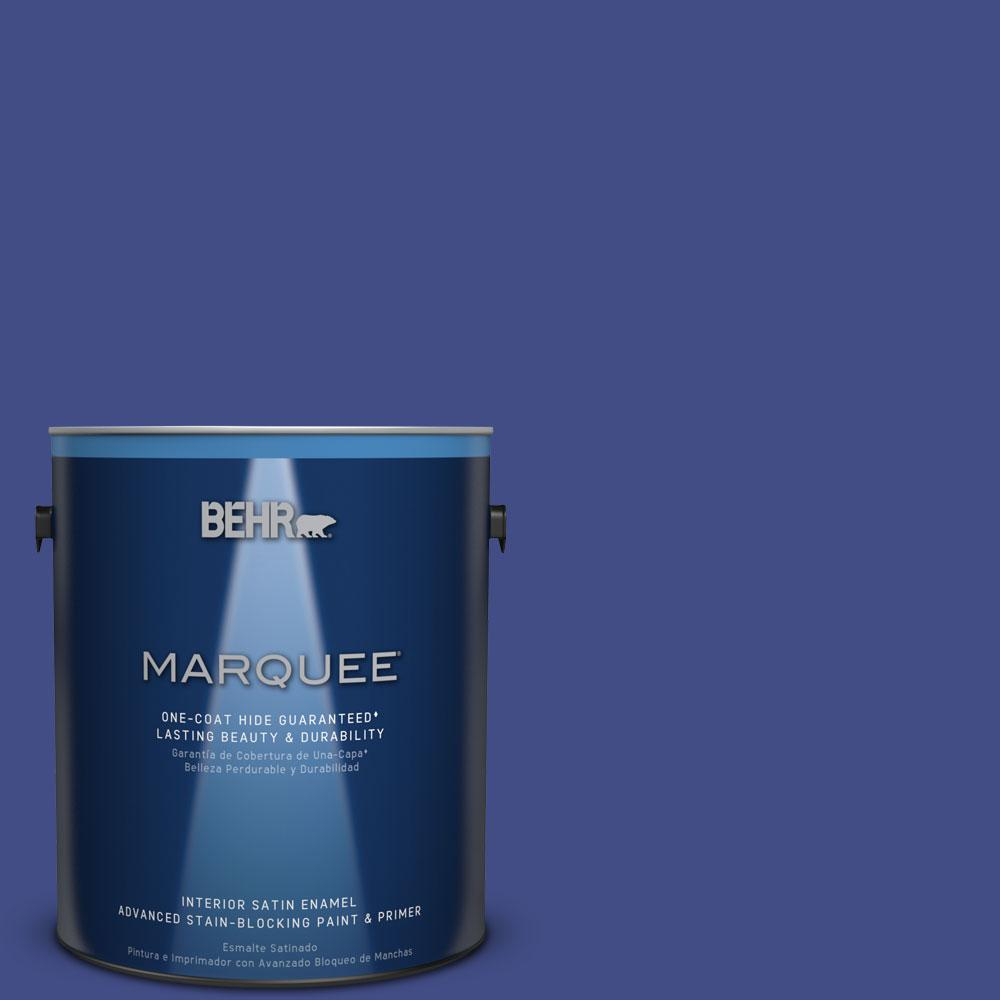 1 gal. #MQ5-48 Boudoir Blue One-Coat Hide Satin Enamel Interior Paint