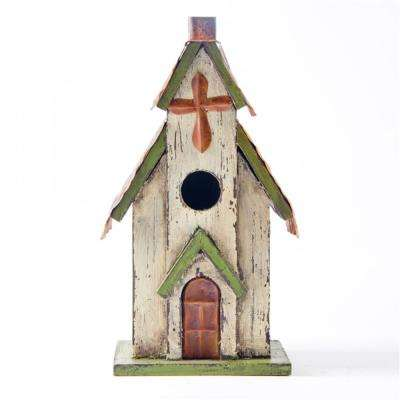 11.81 in. H Distressed Solid Wood Church Birdhouse