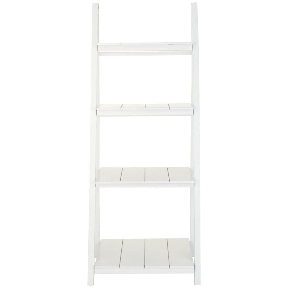 Chateau bookcase walnut leaning bookcase white modern bookcase walnut - Nolan White 4 Shelf Folding Ladder Bookcase