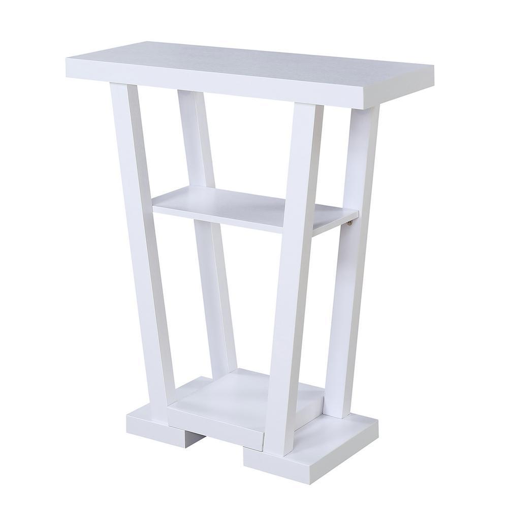 Newport White V Console Table