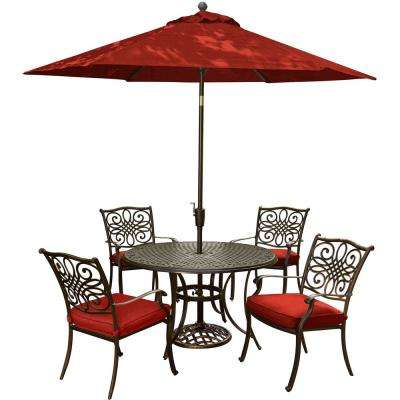Traditions 5-Piece Aluminum Outdoor Dining Set with Red Cushions and Cast-Top Table