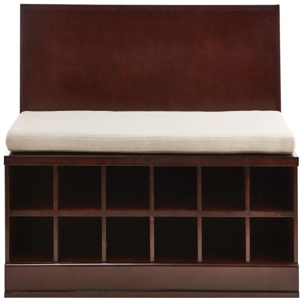 65.5 in. Bismark Smokey Brown Wide Storage Bench with 2-Drawer Cabinet and Wall Shelf with Mirror